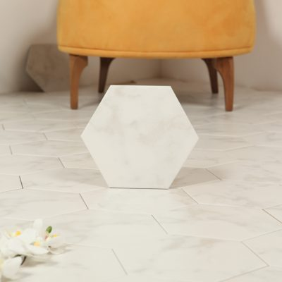 Klinker Hexagon Carrara White 20X23